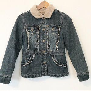 Me Jane kid's faux fur lined denim jacket sz 10-12